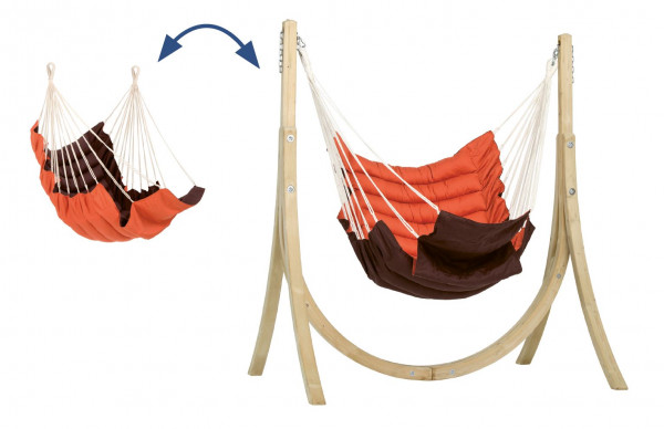 The AMAZONAS Taurus Set terracotta with the cushioned hanging chair and the wooden frame Taurus