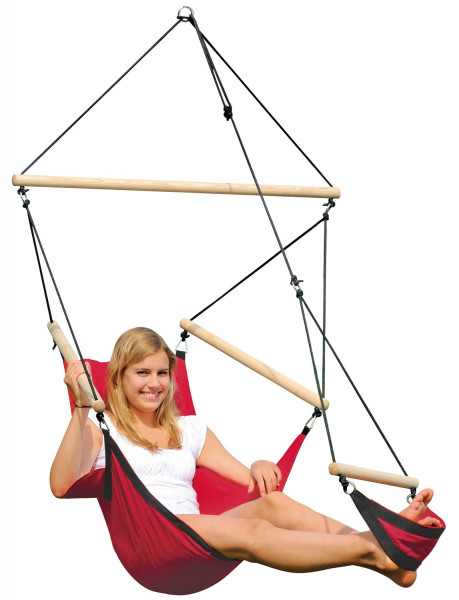 The AMAZONAS Swinger hanging chair with integrated footrest for indoors and outdoors