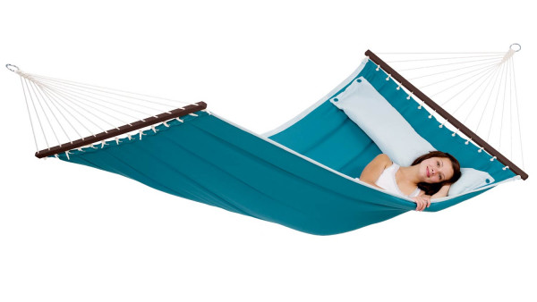 The cushioned rod hammock is big enough for two people